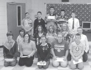 LETTER WRITING CONTEST — Members of Juanita Spangler's sixth-grade language arts class at Whitesburg Middle School recently participated in a letter writing contest. The winners were awarded a $100 scholarship to attend Camp Webb, a conservation camp in Grayson. Pictured are (front row, left to right) Dylon Cates, Julie Lenville, Kori Strauss, Lauren Noble, Jordan Maggard, (middle row) Ethan Collier, Bethany Allen, Alexis Fields, Brea Franks, Austin Amburgey, (back row) Dylan Wright, Tristin Cunniff , Derrick Smith, Audie Fields, and Cameron Hampton.