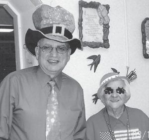 ST. PATRICK'S DAY celebrants at the Ermine Senior Citizens Center included Sheriff Danny Webb and Lizzie M. Wright.