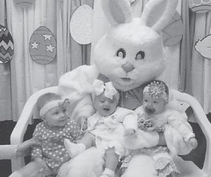 WITH THE EASTER BUNNY — Pictured with the Easter Bunny at the Hemphill Community Center are (left to right)Carlee Sexton, daughter of Troy and Paul Sexton; Mya Mullins, daughter of Kevin and Kim Mullins; and Brylee Austin, daughter of Crystal and Kevin Austin.