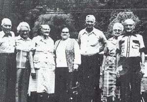 """MARLOWE RESIDENTS — Pictured are Larkin Brown, Hattie Tackett, Dora Pennington, Bonnie Adams, P.W. Adams, Elsie Niece, and John Niece. Whitesburg correspondent Oma Hatton says, """"These are all Marlowe people. They are all deceased. All you older Marlowe people will remember them. This was at a Marlowe reunion a long time ago."""""""