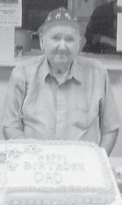 BIRTHDAY — John Duty celebrated his 80th birthday at the Ermine Senior Citizens Center with a cake baked by his daughter.