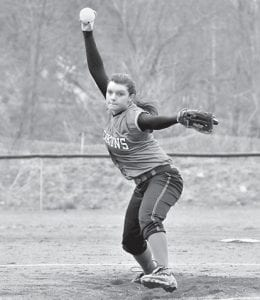 Jenkins High School senior Brooke Webb has taken the reins of the starting pitcher for the Lady Cavs as they look to defend their 53rd District title. Webb is seen here delivering a pitch in the Lady Cavs' 12-2 win over East Ridge last week. Webb gave up one earned run and struck out six batters in the game. (Photo by Chris Anderson)
