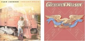 Pictured above are the covers of new albums by country music stars Alan Jackson and Gretchen Wilson. (AP photos)