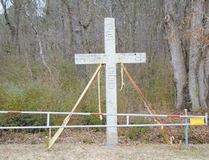 The photo shows one of the roadside concrete crosses erected by Rev. Henry Harrison Mayes. (AP Photo/The Museum of Appalachia)