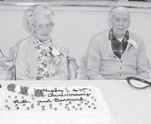 ANNIVERSARY — A surprise party was given for Bernard and Ruth Raper to celebrate the couple's 64th wedding anniversary.