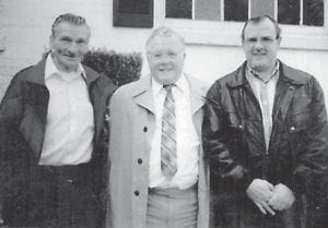 PICTURED IN 1998 are Kellis 'Bud' Hatton, Ray Hatton, and Denny Hatton. This photo was taken at the wake for Attorney Bill Hatton by Irene Emma Hatton, the wife of Ray Hatton.