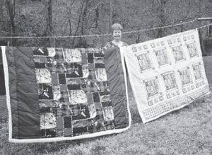 QUILTMAKER — Linda Combs is pictured with quilts she made this winter for her great-grandson and great-granddaughter, Jacob Cornett and Kylie Cornett.