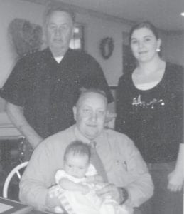 FOUR GENERATIONS — Pictured are four generations of the Hall family, Billy Van Hall Sr. of Mayking with son Billy Van Hall II, granddaughter Krystal Kelly, and great-granddaughter Riley Kelly, all of Belton, Texas.