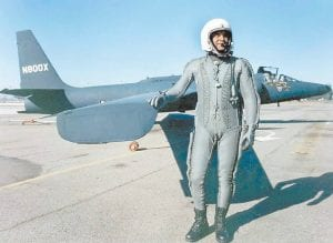 Francis Gary Powers, born in Jenkins in 1929, poses with a U2 spyplane like the one he was piloting on May 1, 1960, when he was shot down from 70,000 feet above central Russia by a surface-to-air Soviet missile exploding close behind him.