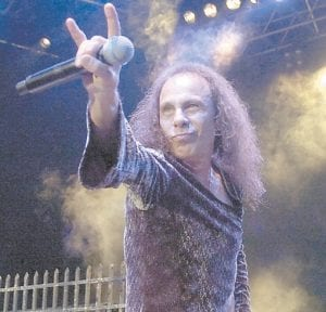 """Ronnie James Dio performed with British heavy metal group """"Heaven and Hell"""" during the 41th Montreux Jazz Festival in Montreux, Switzerland, in July 2007. Dio, the metal god who sang for Richie Blackmore's Rainbow, replaced Ozzy Osbourne in Black Sabbath and later piloted the bands Heaven & Hell and Dio, he died Sunday. (AP Photo/Keystone)"""