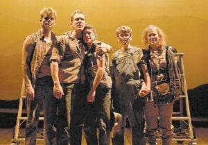 """From left, Andrew Durand, Charlie Brady, Al Calderon, Noah Galvin and Molly Ranson are shown in a scene from, """"The Burnt Part Boys,"""" in New York. (AP Photo/The Publicity Office, Joan Marcus)"""