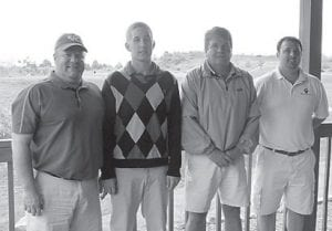TOURNEY WINNERS — Sixty-four golfers participated in the Build Heal Thrive Golf Classic at Raven Rock Golf Course on May 10. The tournament was hosted by Whitesburg Appalachian Regional Hospital and the ARH Foundation. Proceeds will be used toward the expansion and renovation project of the hospital. Pictured are first place winners (left to right) Tim Kilburn, Camron Bailey, Randy Bailey, and John Lindon.