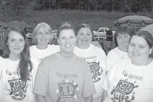 """RELAY FOR LIFE — The American Cancer Society sponsors the Relay for Life to help find a cure for cancer. The Letcher Manor Nursing & Rehabilitation staff held a variety of fundraisers for this cause, and """"walked for a cure"""" at Whitesburg City Park on June 4. Pictured are (left to right) Brandi Amburgey, Gwen Lumpkins, Britanie Sturgill, Angela Combs, Martha Fields, and Christy Morton."""