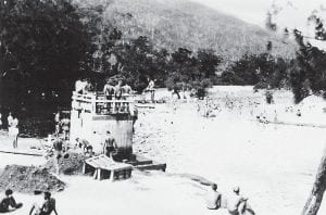 ON PINE MOUNTAIN, PROBABLY IN THE LATE 1940's — During summers between the early 1930's and the early 1940's, young people by the dozens could be found swimming in this lake at the former Pine Mountain Resort near Whitesburg. The property is being rehabilitated and currently operates as Wiley's Last Resort.