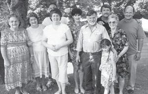 THE LATE MARGIE P. ADAMS is pictured with Dorothy Tackett, Linda Pennington Hall, Ricky and Charlene Mason, Bob Pennington, Charles Noble, Josephine Pennington and son Ronnie Dale and his daughter.