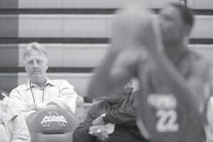 Indiana Pacers president Larry Bird, left, watched during a recent NBA Draft Combine workout.