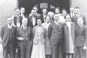 WHITESBURG HIGH FACULTY 1938-39 — Front row (left to right) W. L. Stallard Sr., R. Dean Squires (Principal), Dalna Hale, Viola Cook, Elijah B. Hale, June Fields, Isaac Hogg, (second row) Millard Tolliver, Herbert Haynes, Ann Dugan, Eunice Combs Taylor, H. Dean Addington, (back row) Sanford Adams, Jerry Montgomery, Pansy Webb, Mrs. Edison Lewis, and R. Edgar Banks.