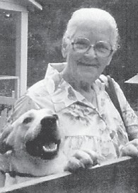 THE LATE MINNIE FIELDS of Craft's Colly, is pictured with her dog Scottie.