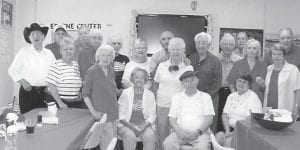 FOURTH OF JULY — Senior citizens at the Ermine Center enjoyed a Fourth of July celebration which included drawings for flowers donated by local florists as well as a red, white, and blue cake.