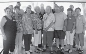 REUNION — Several members on the Whitesburg High School Class of 1962 and their spouses got together for a picnic and reunion at Fishpond Lake on June 26. Those attending were (front row, left to right) Margie Miller Kwiecien, Dorothy Holbrook Lucas, Betty Stewart Bentley, Martha Adams Blair, Shirley Mullins Sparks, Dean Wilcox, Nancy Banks Kincer, Wanda Cornett Back, (second row) James Wagner, Dennis Martin, Kenneth Frazier, Johnny Trent, Bill Stout, Sue Webb Back, Principal Jack Burkich, and (back) Wilgus Sturgill. Not pictured is John Howard.