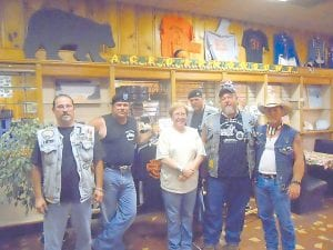 KEY PLAYERS in getting the bike night events started in Whitesburg are Rick Adams, Ernest Bradley, Kathy Kincer, owner of Hobo's Diner, Chuck Dowdy, Seventh Sons President James 'Sleaze' Pratt and Norman Bradley. (Photo by Ashley Sexton)