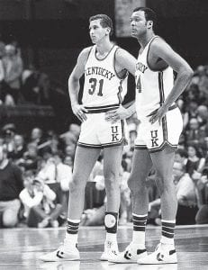 Kentucky basketball players Sam Bowie, left, and Melvin Turpin waited during a break in a game against Indiana at Rupp Arena in Lexington in December 1983. Turpin, a former NBA player an All-American Kentucky center, committed suicide July 8. He was 49. (AP Photo/Lexington Herald-Leader)