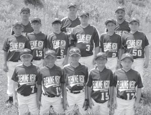 CHAMPIONS — The Fleming-Neon Little League 9-10 year old team is the District 7 winner for the second year in a row. Pictured are (front row, left to right) Cameron Whitaker, Hayden Fleming, Mason Jessey, Braydyn Fleming, Dakota Mullins, (second row) Keaston Maggard, Logan Shepherd, Max Baker, Alec Fields, Johnathan Potter, Garrett Phillips, (third row) Manager Andy Maggard, Coach Brian Whitaker, and Coach John Potter. The team was 5-0 in district play, defeating Morgan County, Belfrey, Phelps and Paintsville two times. The next game is at 5 p.m., Saturday, July 17, in Harlan County.