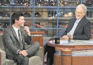"""Taylor Lautner, left, who stars in """"The Twilight Saga: Eclipse,"""" joined host David Letterman on the set of the """"Late Show with David Letterman"""" in New York recently. (AP Photo/John Paul Filo)"""