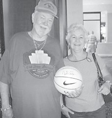 """Johnny Orville Doyle (1956) and wife, Evelyn, winners of the """"Coach Cal"""" signed basketball"""