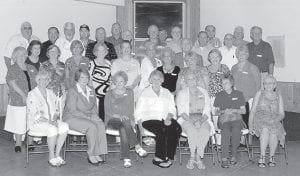 CLASS REUNION — Members of the Whitesburg High School Class of 1960 held their 50-year reunion recently. Pictured are (front row, left to right) Sheila Day, Louise Whitaker, Chesta Webb, Pearlie Stamper, Mary Jane Fouts, Shirley June Whitaker, Karen Combs, (second row) Linda Wampler, Gwen Blair, Hilda Cook, Juda Holbrook, Ana Lee Adams, Debbie Caudill, Carol Conatser, Jeanne Spangler, Doris Mullins, Vanda Adams, (third row) Velda Webb, Joe M. Brown, Raymond Hart, Dan Caudill, Charles Polly, former WHS Principal Jack Burkich, Elwin Colwell, Roy Cook, Roger Kincer, (fourth row) Carl Hall, Tommy Stansberry, Charles Hammonds, Bobby Day, John Johnson, Larry Ison, Bill Collins, and Owen Pace.