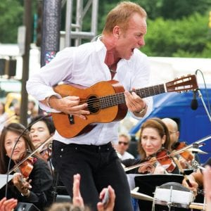 """Sting performed with an orchestral backing earlier this month on CBS's """"The Early Show"""" in New York. (AP Photo/Charles Sykes)"""
