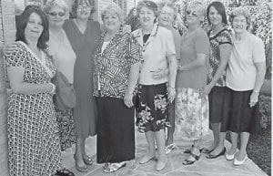 BIRTHDAY — Pearl Noble's family celebrated her birthday July 18 in Ohio. Pictured are Kim Lucas, Deloris Holbrook, Charlene Mason, Mary Bealer, Linda Hall, Pearl Noble, Teresa Pease, Jennifer Holbrook and Dorthy Tackett.