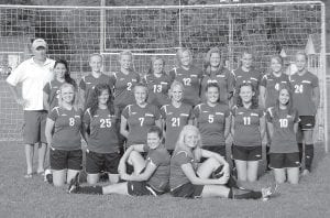 2010 LCCHS GIRLS' SOCCER TEAM — Pictured from left are (front row) Hillary Boggs,Colleen Goodson, (middle row) Kristen Hall, Brandy Porter, Erica Adams, Lindsey Kincer, Arianna Collins, Erica Meade, Jasmine Glispie, (back row) Head Coach Greg Collins, Brooke Kincer, Meg Raleigh, Courtney Venters, Carly Combs, Megan Sizemore, Savannah Hampton, Lindsey Williams Auberny Campbell and Tori Ison.