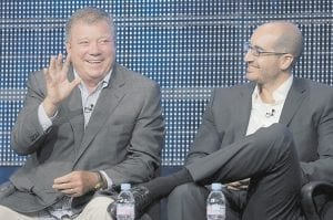 """William Shatner, left, star of the new television show """"$#*! My Dad Says,"""" took part in a panel discussion with co-executive producer Justin Halpern at the CBS, Showtime and The CW Television Critics Association summer press tour in Beverly Hills. (AP Photo)"""