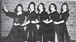 Whitesburg High School Cheerleaders 1958 (left to right) Donna Spangler, Wanda Lee Collier, Kaye Hale, Lily Jane Collins, and Wanda Rogers.