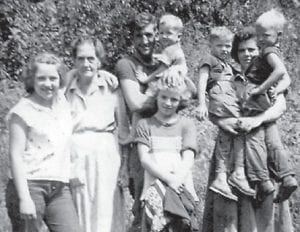 Pictured are Mary Jo Hogue, Vera 'Bug' Halcomb Cassel, Kinol Halcomb, Vera Ann Boggs and brother, Gert Whitaker, and young cousins.