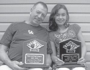 YOUNG BOWLER — Ten-year-old Savanna McConnell bowls on the Little Monkeys team. Her team won second place in the Bantam/Prep bowling league, and placed in the Handicap Series 559. She is the daughter of Amanda and Troy Upshaw of Bryon, Ga., and J.R. McConnell of Warner Robbins, Ga. Her grandparents are Pansy Hall of Georgia and Douglas Hall of Seco. She is pictured with her grandfather.