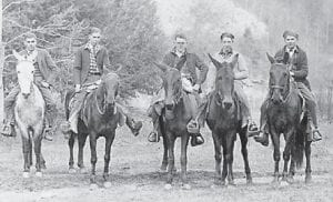 ON HORSEBACK are (left to right) Harve Sandlin, a minister; Edison Caudill, a painter and farmer; Earnest Sumpter, a carpenter; Burnice Caudill, a businessman and painter; and Lindsey Polly, a policeman and engineer. Elsie Banks of Cowan is the sister of Edison Caudill and Burnice Caudill.