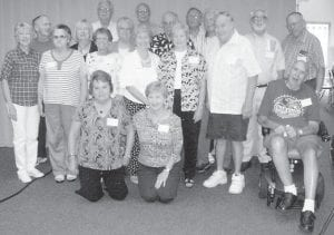 REUNION — The Jenkins High School Class of 1955 held its 55th class reunion August 28 with 20 class members and a teacher present. Those attending were Percy Elkins, Victor Mullins, David Howell, Ronald Irwin, Bobby Branham, Jimmy Bevins, Clayton Robinson, Larry Newman, Bobby Killen, Nancy Adkins Fleming, Martha Farley Scott, Joan Davis Calhoun, Larue Anderson Wright, Doris Davidson LeGualt, Joann Darnell Combs, Shirley Wojciechowski Mann, Barbara Stanbough Williams, Carol Sue Greer Cantrell, and teacher Sid Lockard. Not pictured are Peggy Hunsucker Greer and Arthur Belcher. Unable to attend were Jeanette Scott Sparks because of an accident, and Molly Hodges Sturgill because of illness.