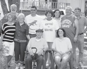 REUNION — The Wynn family held a reunion recently, and also celebrated the birthday of the late Gracie Wynn. Pictured are (sitting, left to right) Joe Walker, Amanda Baker, (standing) Vernon Wynn, Krista Swanner, Deanna Baker, Jay Wynn, Martha Whitaker, Sudie Day, Myerl Wynn and Shelby Wynn. Guests not pictured are Kathy Wynn, Mary Wynn, Dakota Wynn, Logan Wynn, Tyler Wynn, Valerie Breeding, Kelvin Breeding, Katie Breeding, Paul Breeding, Kinlee Breeding, Veronica Bryan, Chanse Scott, Terry Day, Tommy Day, Bridgit Howard, Marty Whitaker, Haley Whitaker, Trenton Whitaker, Betty Collett, Chris Collett, Ernest Collett, Laura Hacker, Brittany Hacker, Briana Europa Hacker, and Dylan Hacker.