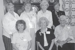 DAR OFFICERS — Newly elected officers of the Pine Mountain Chapter of the Daughters of the American Revolution recently traveled to Hindman Settlement School for their district meeting. Pictured are (seated, left to right) Shirley June Whitaker, 2nd Vice Regent; Kaye Combs Moore, Vice Regent; Stella Elam, Veterans Chairperson; (standing) Marsha Banks, Regent; Ann Reynolds, Treasurer; Sally Caudill, Chaplin; and Merlene Day, Recording and Corresponding Secretary.