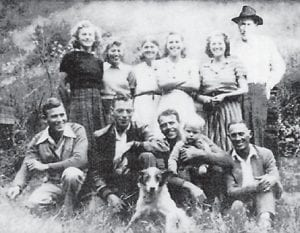 HALE FAMILY — Pictured is the family of Lee Hale, (front row, left to right) Roy Hale, Charlie Hale, Everett Hale holding Charles Hall, Bill Hale, (back row) Mattie Hale Umbarger, Juanita Hale Edwards, Mary Day Hale, Nannie Hall Boggs, Beulah Hale Banks, and Lee Hale.