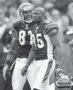 Cincinnati Bengals wide receivers Chad Ochocinco (85) and Terrell Owens walked off the field during the second half of Cincinnati's 38-24 loss to the New England Patriots at Gillette Stadium in Foxborough, Mass., on Sunday. (AP Photo)