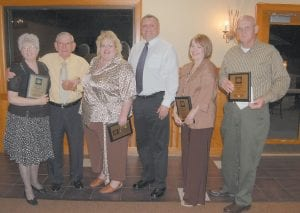 """HONORED BY CHAMBER — Jeanette Ladd, Maynard Hogg, Doris Banks, Tex Isaac, Reva Sergent and Paul Thomas Greer were honored for community service at Letcher County Chamber of Commerce's """"Unsung Heroes"""" award banquet held Sept. 9 at Pine Mountain Grill in Whitesburg."""