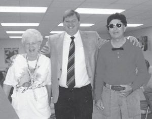 TACKY PARTY — Betty Pike, Judge Jim Ward and Ed Pike attending a 'tacky' party recently at the Ermine Senior Citizens Center.