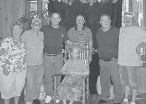 FAMILY REUNION — The Hatton family reunion was held August 28 at the Cowan Community Center. Pictured at the reunion are (left to right) Vickie Hatton Underwood, Bud Hatton, Johnny Caudill, Gene Caudill, Jamie Darrell Hatton, Ivan Hatton, and Hazel Hatton Hart.