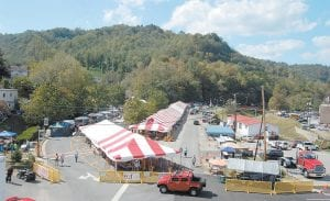 Heritage Village was photographed early Friday, before the large crowds had gathered, from the basket of a fire truck boom operated by Asst. Fire Chief Perry Fowler. (Eagle photo)