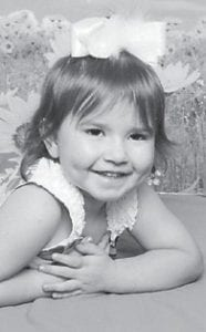 THREE YEARS OLD — Alexis Mullins will turn three years old on Oct. 25. She is the daughter of Emily Bevins and Justin Mullins and the granddaughter of George and Patsy Bevins and Karen and Marty Mullins.