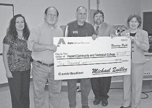 Alpha Natural Resources recently donated $10,000 to Hazard Community and Technical College. In July, Alpha also donated a $4,500 shuttle car, a Joy 21SC model. Pictured from left are Dr. Jennifer Lindon, dean of workforce solutions, Jesse Campbell, coal academy coordinator, Johnny Fields, Alpha Natural Resources assistant maintenance manager for underground operations in Virginia and Kentucky and Neil Brashear, HCTC interim president and chief executive officer. Those interested in enrolling in the Kentucky Coal Academy can call Jesse Campbell at 1-800-246-7521, ext. 73392 or Dianna Handshoe at 487-3292.