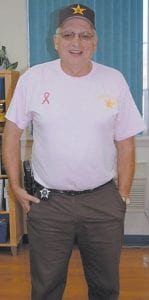 A pink t-shirt was part of Sheriff Danny Webb's uniform on Friday.